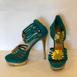 H by Halston Teal With Gold Strap Sandal Stilettos
